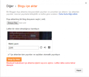 Google Blogger İçe Aktar